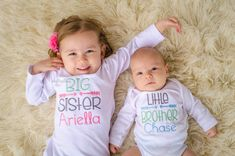 Itzybitzybeauty Sibling shirts Big brother, big sister, little brother , little sister LISTING IS FOR TWO SHIRTS  You MUST clearly state at