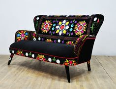 Items similar to Patchwork armchair with Suzani and purple velvet fabrics on Etsy Funky Painted Furniture, Colorful Furniture, Home Decor Furniture, Unique Furniture, Shabby Chic Furniture, Furniture Makeover, Luxury Furniture, Patchwork Sofa, Pouf Design