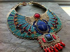 Turquoise and Coral CUSTOM ORDER Egyptian by LuxVivensFashion