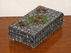 Red Silver Flower Mosaic Keepsake Box by StarStruckMosaics on Etsy, $47.00