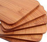 Drink Coasters  Stylish Bamboo Coaster Set 6 Piece Coasters for Drinks Coffee & Tea by Ergo Kitchen Accessories
