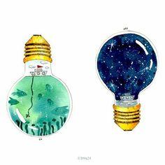 Foto Light Bulb Drawing, Light Bulb Art, Drawing Lightbulb, Watercolor Ideas, Watercolor Drawing, Drawing Drawing, Drawing Ideas, Drawing Tips, Painting & Drawing