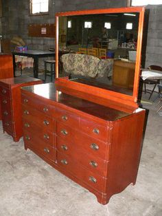 Neat 1940s era dresser with mirror. Up for bid 4/11/13 in Kansas City consignment auction - www.atakc.com