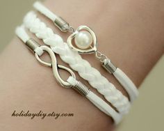 Bridesmaid gifts,Sisters gift,White Pure bracelet,infinity bracelet, heart shaped with Imitation pearls bracelet,wedding bracelet , # IB095 on Etsy, 4,31€