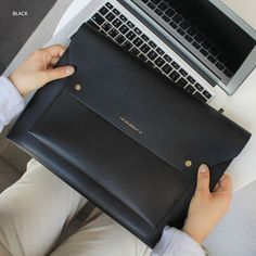 Think about W 13 inches flat laptop pouch by With Alice. The Think About W laptop case features a main zippered compartment to hold up to 13 inches laptop or below. Laptop Pouch, Leather Laptop Case, Leather Pouch, Pouch Bag, Laptop Cases, Wallet, University Bag, Diy Leather Projects, Leather Bag Design