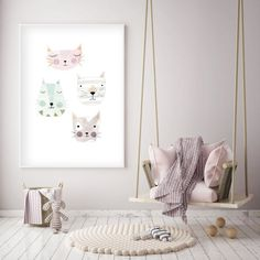 Bring magic and fantasy into your child's room, nursery, or party with this unicorn print! Baby Girl Room Decor, Baby Room Colors, Nursery Wall Art, Nursery Decor, Modern Kids Bedroom, Cat Bedroom, Pastel Nursery, Kids Room Art, Child Room