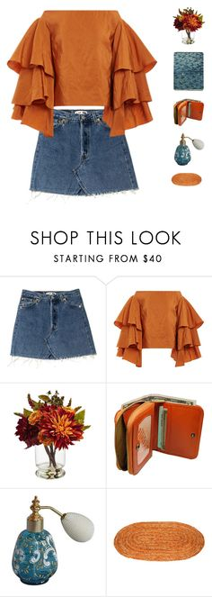 """Tangerine"" by freshyouth ❤ liked on Polyvore featuring Rosie Assoulin, Nearly Natural and Castello"