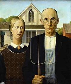 'American Gothic' is one of the best known paintings in the United States. It was painted by artist Grant Wood in 1930 in Iowa.