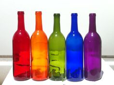 Rainbow pack of bottles.  They're intended to be used on bottle trees, which runs counter to bottle-tree tradition but might be pretty anyhow.