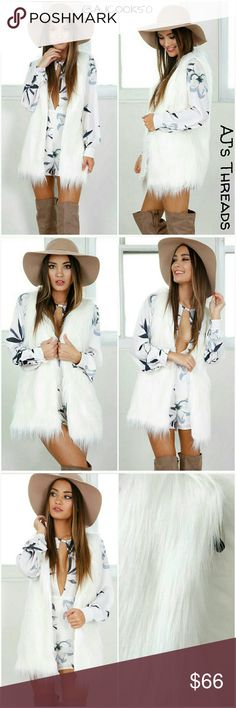 """✨Coming Soon✨White Faux Fur Vest Sexy and chic white faux fur vest; features a vneck front with white faux fur.  Sizing:Length:29.5"""" Small - Bust:34.7"""" Shoulder:14.6"""" Medium - Bust: 36.2"""" Shoulder: 15"""" Large - Bust:37.8"""" Shoulder:15.4"""" Jackets & Coats Vests"""