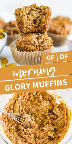 These are the best healthy morning glory muffins! They're gluten free dairy free and refined sugar free. Full of veggies fruit and great for the morning or mid-afternoon snack. Healthy Muffin Recipes, Healthy Muffins, Breakfast Recipes, Vegan Recipes, Dinner Recipes, Dessert Recipes, Cooking Recipes, Free Recipes, Baby Recipes