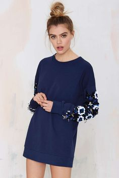 Nasty Gal Heavy Petal Beaded Sweatshirt, navy blue. Would look really amazing in pastel pink and mint green as well XD
