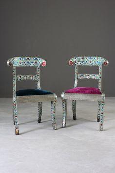 Pair Indian Enamelled Metal Chairs