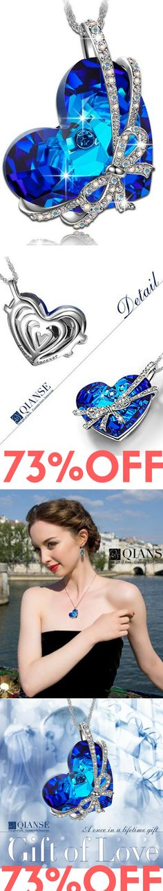 "Qianse ""Heart of the Ocean"" Bowtie Pendant Necklace Made with SWAROVSKI Crystal, Women Heart Jewelry.. Sale:	$35.99 & FREE Shipping on orders over $49. FREE Returns. http://amzn.to/2dOPxG9"