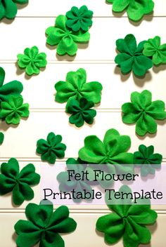 This felt shamrocks are perfect for St. Patrick's day decorations. Download the free template to make felt shamrocks of 3 different sizes.