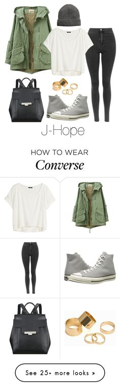 """J-Hope Inspired w/ Converse"" by btsoutfits on Polyvore featuring H&M, Nine West, Pieces and Converse"