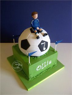 Football Fanatic - Cake by CakeyCake Soccer Birthday Cakes, Football Birthday, Soccer Party, Boy Birthday, Soccer Cakes, Fancy Cakes, Cute Cakes, Chelsea Football Cake, Football Themes