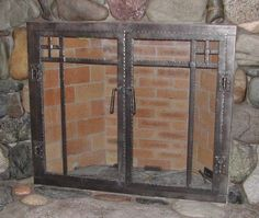 craftsman style fireplace doors---if these were bigger would they be cool for a shower door? Fireplace Doors, Home Fireplace, Mantle, French Provencial Furniture, Craftsman Living Rooms, Home Decor Hacks, Furniture Layout, Shower Doors, Craftsman Style