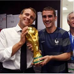 Macron went into the dressing room to celebrate with Antoine Griezmann and Didier Deschamp. Antoine Griezmann, France National Football Team, Paul Pogba, Gareth Bale, World Cup 2018, Second World, David Beckham, Lionel Messi, Fc Barcelona