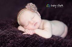 Newborn Pearl Headband with Crochet Flower by PetuniaandIvy, $15.00