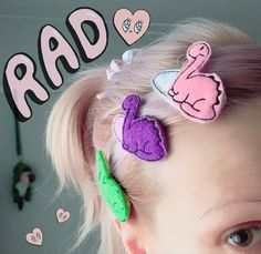 When it's hot and my fringe is annoying #🦕 Dino hair clips by @rbcraftshop #❤️ #hairaccesories #dinosaurs #pastelfashion