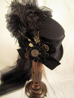 Steampunk Black Riding Hat with Clock Hands by JillieKatCreations, $79.00