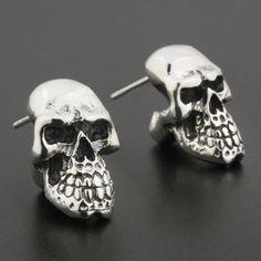 Silver Skull Men's Earrings