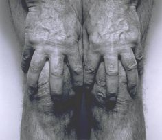 Available for sale from Galerie Nordenhake, John Coplans, Self Portrait, Hands Spread On Knees Gelatin Silver Print, × 61 cm Figure Photography, Photography Projects, Portrait Photography, Human Body Photography, Tate London, A Level Art, Famous Photographers, Human Condition, Photo Art