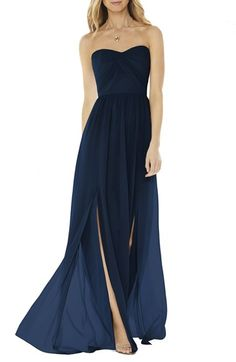 Free shipping and returns on Social Bridesmaids Strapless Georgette Gown at Nordstrom.com. Draped pleats wrap the bodice of a romantic georgette gown that spotlights pretty décolletage with a strapless sweetheart neckline. Two deep front slits add fluttery movement with every step.