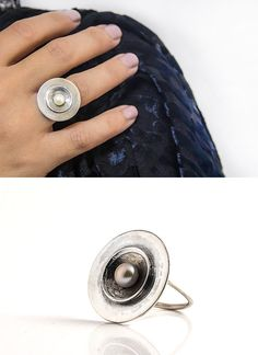SUMMER SALE Pearl ring  Silver ring  Round ring  by batyas on Etsy