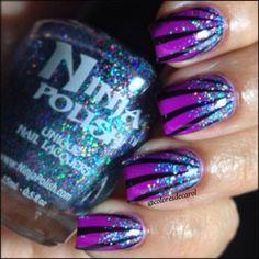 Purple, glitter bling Halloween nails