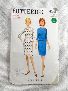Vintage Pattern 1965 butterick 4141 by momandpopcultureshop 60s Patterns, Vintage Patterns, Vintage Sewing, Jackie Kennedy Style, Poly Bags, Straight Skirt, Two Piece Dress, 1960s, Skirts