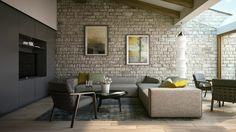 intérieur salon mur briques cadres déco tableau déco mur canapé d'angle gris table bois basse
