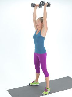 All you need are a yoga mat and a pair of light five- or eight-pound weights to get started.
