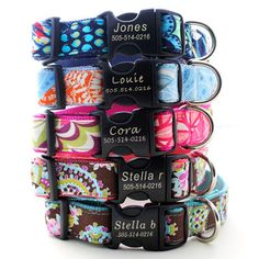 Lazer Etched Personalized Classic Cotton Dog Collar - 18 styles to choose from