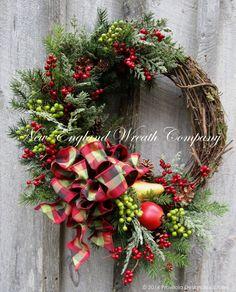 Christmas Wreath Holiday Wreath New England by NewEnglandWreath
