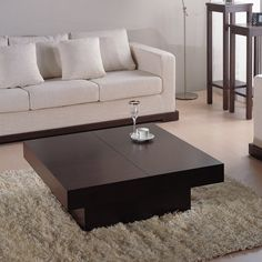 Nile Square Coffee Table Dark Brown Oak Easy To Open Via Ball Bearing