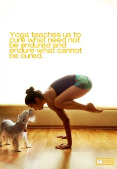 Yoga teaches us to cure what need not be endured and endure what cannot be cured.