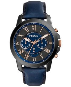 A traditional classic with modern color from Fossil's Grant watch collection. | Blue leather strap | Round black ion-plated stainless steel case, 44mm, rose gold-tone crown | Blue and black chronograp