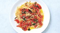 Spaghetti with Tomatoes and Anchovy Butter Recipe - Bon Appétit Recipe - but add wine, cream, tarragon, etc.
