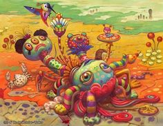 A psychedelic pop surrealism painting by Yoko D'Holbachie of a doll lying in a desert Art Pop, Psychedelic Art, Arte Lowbrow, Surrealism Painting, Painting Art, Wow Art, Colorful Paintings, Kawaii, Art And Illustration