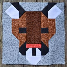 Cougar Quilt Block Pattern PDF Instant Download modern