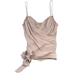 Pre-owned Galliano Beige Draped Silk Tank ($150) ❤ liked on Polyvore featuring tops, tank tops, brown tank, sweetheart tank top, silk tank, spaghetti strap top and drapey tank tops