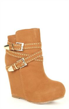 Deb Shops Covered #Wedge #Booties with Round Toe and Studded Straps $46.90