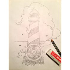 Tattoo lighthouse drawing design