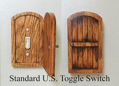 Wooden Rustic Decorative Hobbit Fairy Door Switchplate Cover Novelty Home Hidden Door Home Decor Unique Gift
