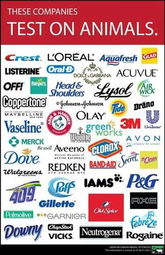 These are the products to stay away from! They are tested on animals, and it ruins the animals lives... except for IAMS, don't we want that tested on animals???