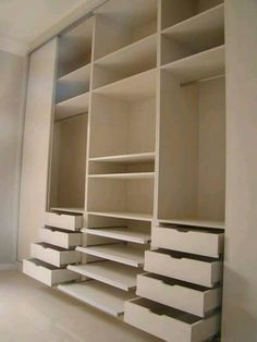 Drawers, slide out shelves