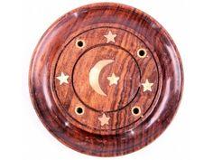 Sheesham Wood Round Ash Catcher with Moon & Stars Inlay