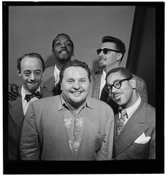 wow, this is a great  [Portrait of Dave Lambert, John Simmons, Chubby Jackson, George Handy, and Dizzy Gillespie, William P. Gottlieb's office, New York, N.Y., ca. July 1947] (LOC) / http://www.holidaygoodness.com/portrait-of-dave-lambert-john-simmons-chubby-jackson-george-handy-and-dizzy-gillespie-william-p-gottliebs-office-new-york-n-y-ca-july-1947-loc/